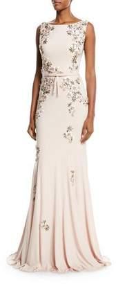 Jovani Floral Embellished Open-Back Gown
