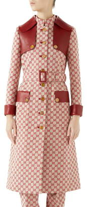 Gucci Leather Trim GG Canvas Trench Coat