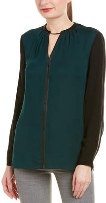 Elie Tahari Leather-Trim Silk Top