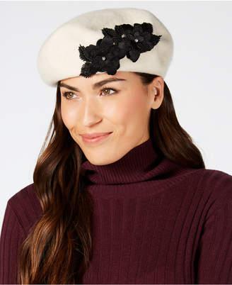 a21395e97c333 August Hats Wool Floral-Appliqué Beret