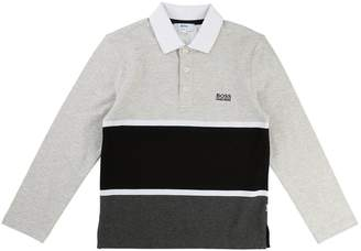 BOSS Boys Colourblock Long Sleeve Polo
