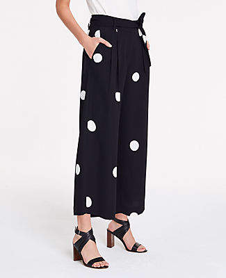 Ann Taylor Dot Pleated Wide Leg Crop Pants