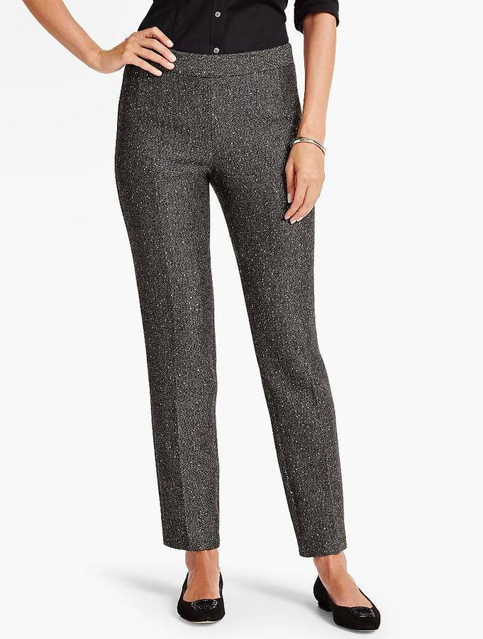 Sequin Tweed Tailored Ankle Pant