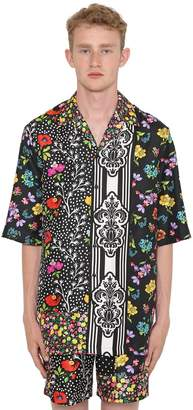 Versace Floral Printed Silk Bowling Shirt