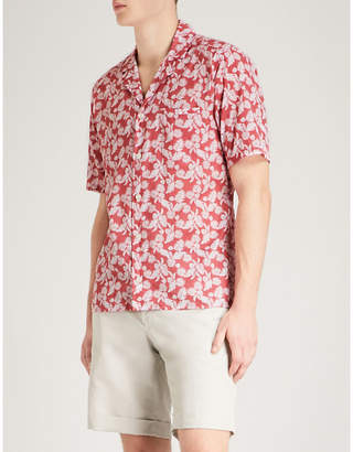 Eton Leaf and polka dot-print slim-fit cotton shirt
