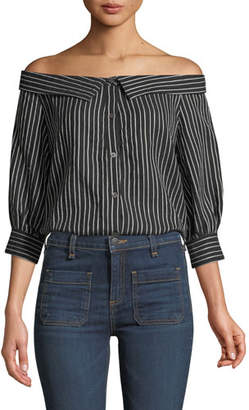 Veronica Beard Britta Off-the-Shoulder Button-Front Striped Top