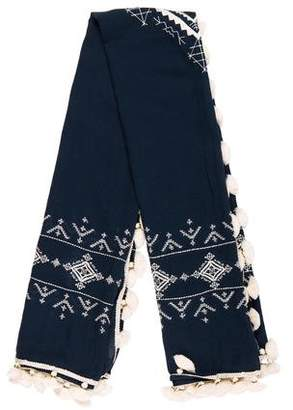 Tory Burch Embroidered Tassel Scarf