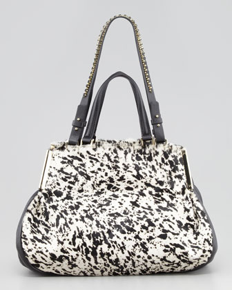 Halston Double-Handle Calf Hair Satchel Bag, Black Multi