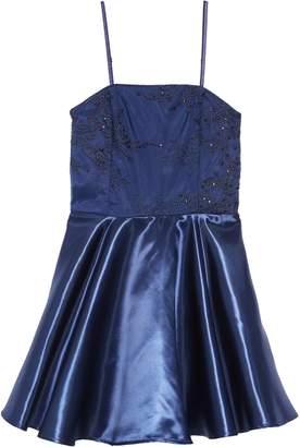 Un Deux Trois Embellished Satin Dress