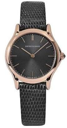 Emporio Armani Swiss Made Women's Swiss Quartz Stainless Steel and Leather Dress Watch, Color: (Model: ARS7003)