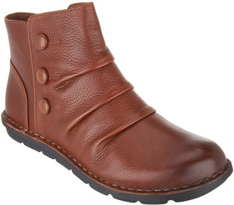 Clarks Leather Side Button Ankle Boots - Janice Verna