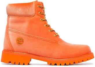 Off-White x Timberland orange velvet boots