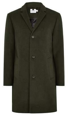 Topman Mens Black Khaki Overcoat With Wool