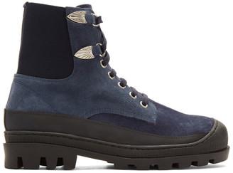 Toga Virilis Blue Suede Lace-Up Boots