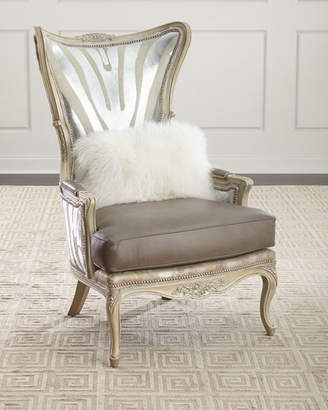 Massoud Shimmer Zebra Leather Wing Chair