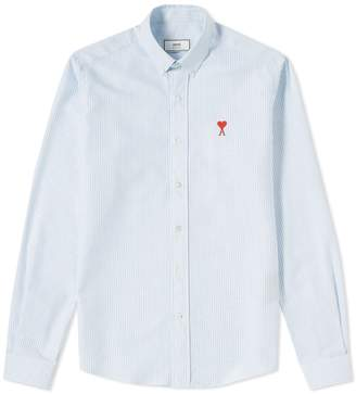 Ami Embroidered Heart Striped Oxford Button Down Shirt