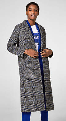 Esprit Textured check coat with wool