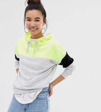 New Look color block hoody in neon