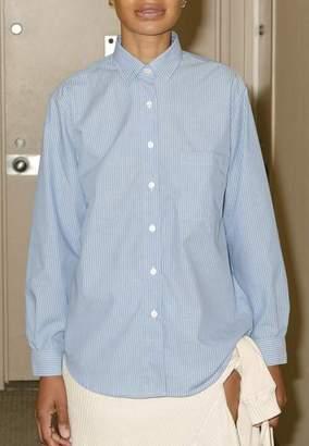 Base Range Baserange - Shirt Popeline Blue Stripes - s