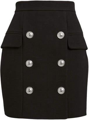 Balmain Button-Embellished Mini Skirt