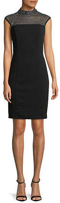 Vince Camuto Mock Neck Beaded Dress