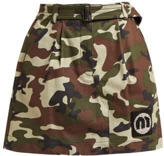 Miu Miu Camouflage Print Cotton Blend Mini Skirt - Womens - Green Multi