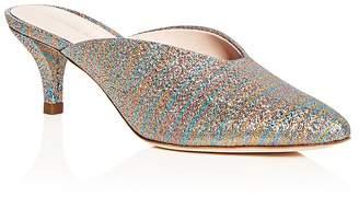 Loeffler Randall Women's Juno Glitter Stripe Kitten Heel Mules