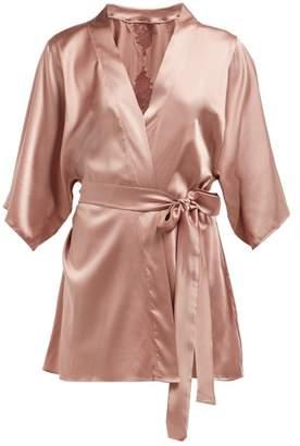 Fleur of England Lace Insert Silk Blend Kimono - Womens - Dark Pink