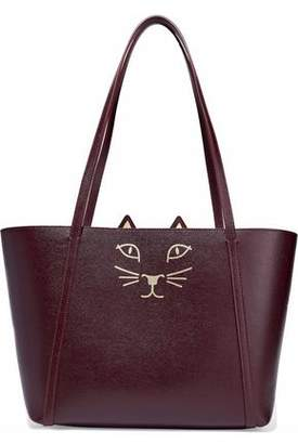 Charlotte Olympia Feline Mini Metallic Printed Textured-Leather Tote