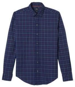 BOSS Hugo Plaid Cotton Sport Shirt, Sharp Fit Robbie XL Orange