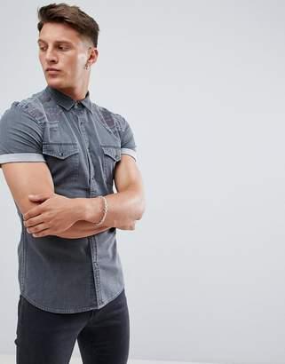 Asos DESIGN skinny western denim shirt with geo-tribal panels in gray