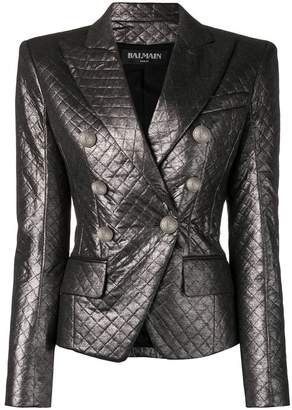Balmain quilted fitted blazer