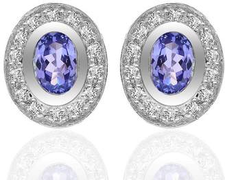 14K White Gold Oval Cushion Tanzanite Diamond Frame Stud Earrings
