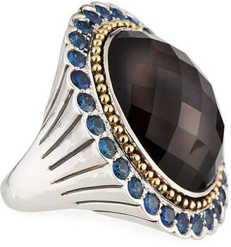 Lagos Smoky Quartz Ring with Blue Sapphire Halo, Size 7