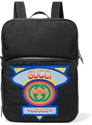 Gucci Neo Leather And Canvas-trimmed Appliquéd Shell Backpack - Black