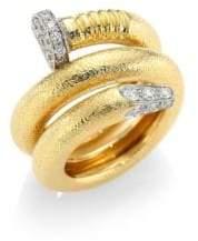 David Webb Toolchest 18K Yellow Gold, Platinum& Diamond Nail Ring