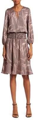 Halston Long-Sleeve Smocked Blouson Dress