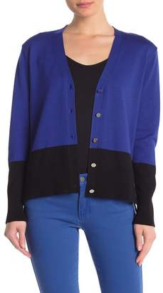 DKNY Colorblock Button Front Cardigan