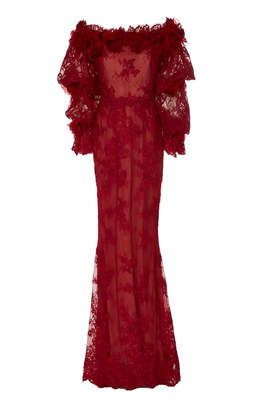 Marchesa Lace Off the Shoulder Gown