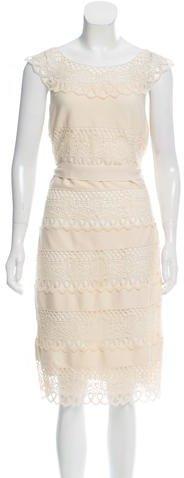 Christian Dior Lace-Paneled Midi Dress