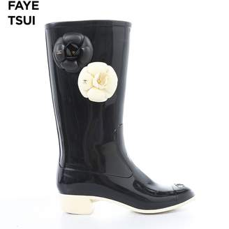 Chanel Black Rubber Boots