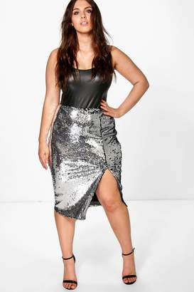 boohoo Plus Cate Sequin Split Front Midi Skirt