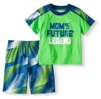 Healthtex Toddler Boys' Contrast Sleeve T-Shirt and Jersey Shorts 2-Piece Athletic Outfit Set