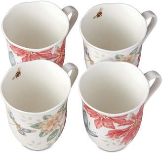 Lenox Butterfly Meadow Holiday Mugs, Set Of 4 Poinsettias and Jasmine Design