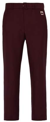 Prada Belted Mohair Blend Straight Leg Trousers - Mens - Burgundy