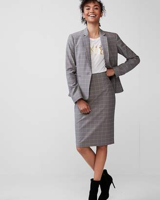 Express Petite High Waisted Windowpane Pencil Skirt