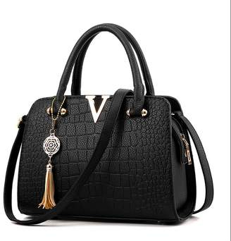 Luckywe Lady Woens Classic Handbags Crocodile Pattern Classic Handbag Tote Hobo Purse Leather A82