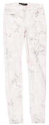 J Brand Mid-Rise Floral Jeans White Mid-Rise Floral Jeans