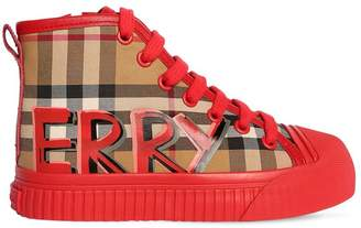 Burberry Graffiti Check Cotton & Leather Sneakers