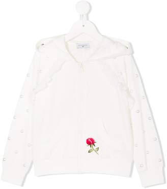 MonnaLisa embellished zip-up hoodie